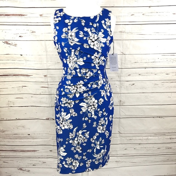 670c8242 Ivanka Trump Dresses | Sheath Dress Blue Floral Size 10 | Poshmark